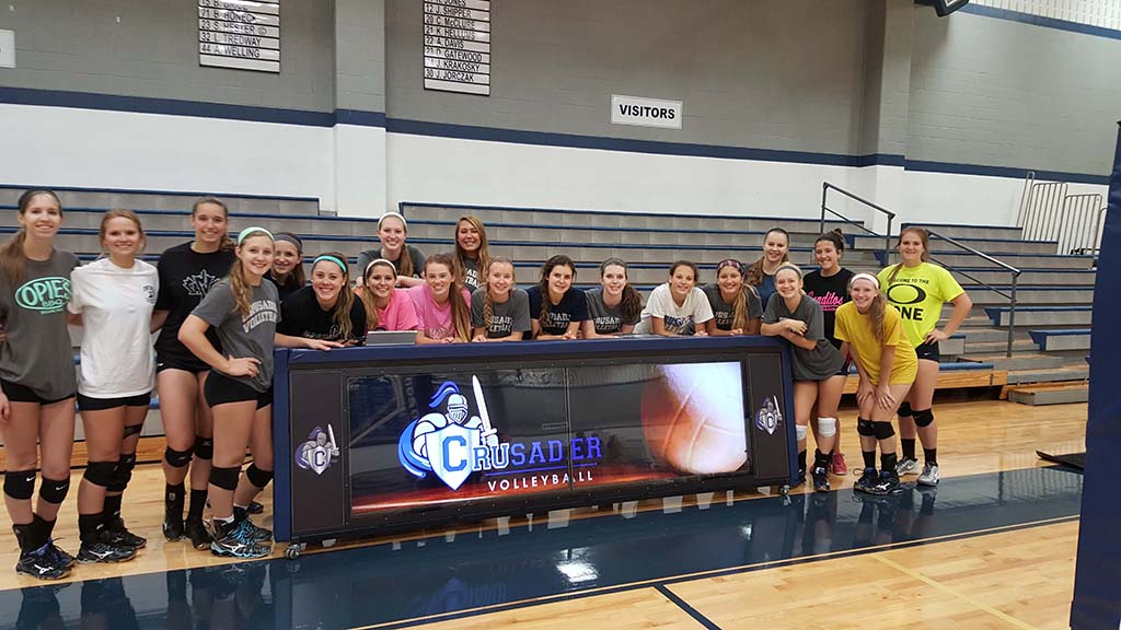 10ft DUALVIEW scoring table for Concordia Lutheran's volleyball team Go Crusaders!