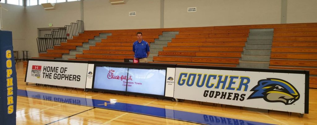 26ft scoring table mix of 10ft digital scoring and two 8ft static scoring table at Goucher College, Maryland
